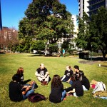Students in the park BNE